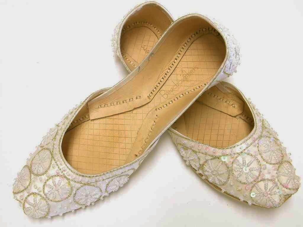 Ivory wedding beaded flat shoes