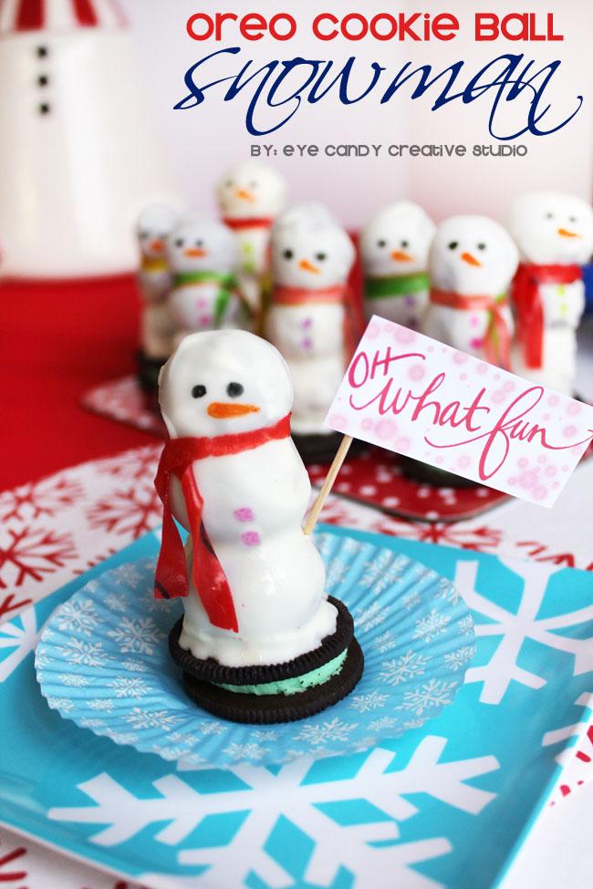 Oreo cookie balls, Oreo cookie ball snowman, edible snowman, oreo