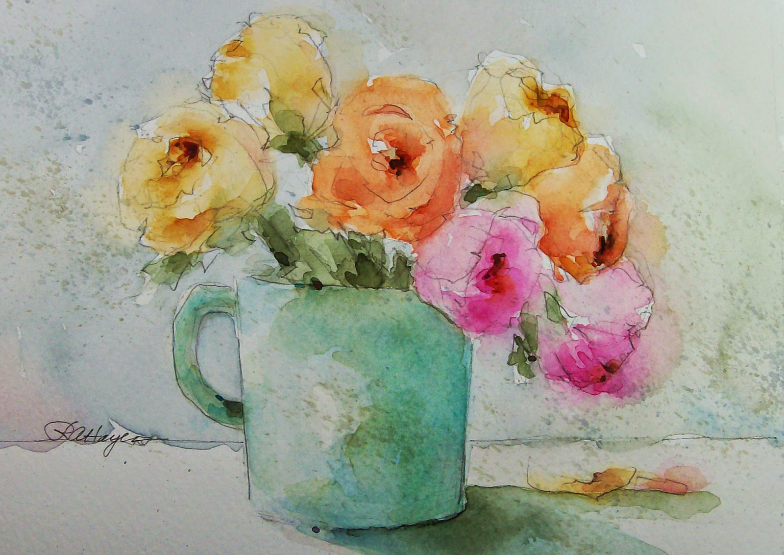 Watercolor paintings by roseann hayes pastel roses for How to paint a rose in watercolour