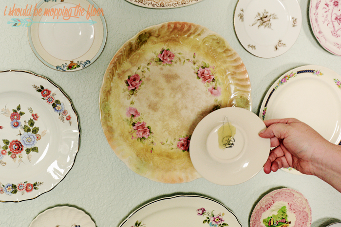 Antique Plate Wall | Fun way to display plates with no wire hangers needed!