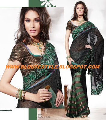 shining saree blouse