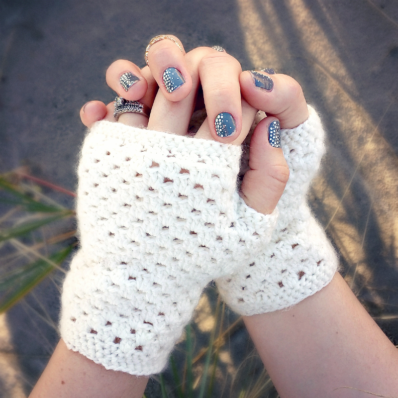 Double Crochet Fingerless Gloves Free Pattern : Domestic Bliss Squared: delicate crochet fingerless gloves ...
