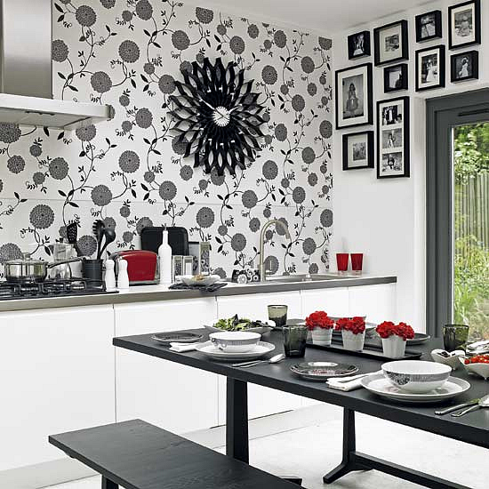 Monochrome Kitchen Diner : Monochrome Is So Well Suited To A Kitchen Diner,  Adding Designer Style To Simple White Units. Give The Look A Twist By  Papering ...