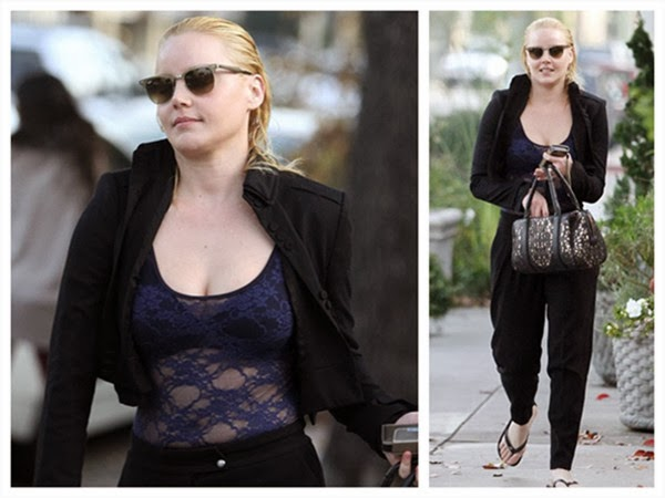 Abbie Cornish Gives a Full Look for Her Browline Glasses with All Hair Combed Back