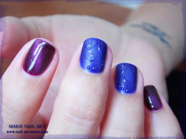 nail art avec semi-permanent effet oeil de chat8