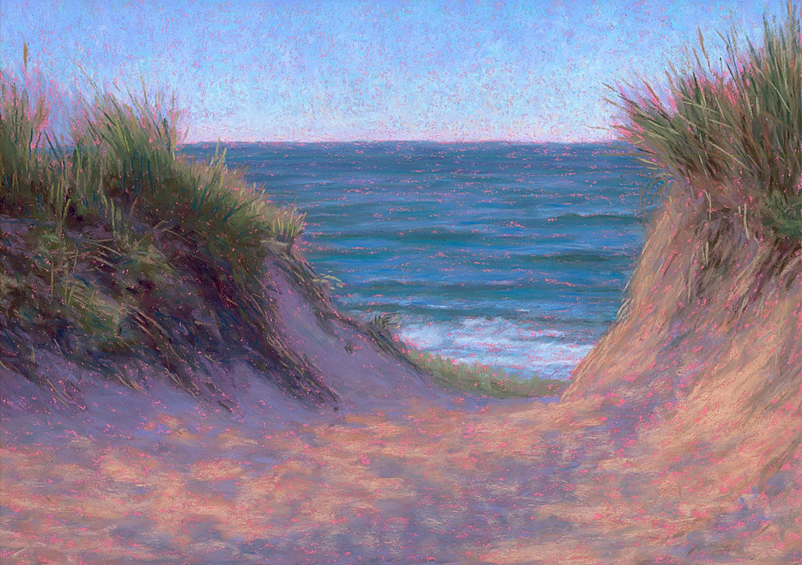 Pastel Painting June Cape Cod Beach Path Pastel Painting