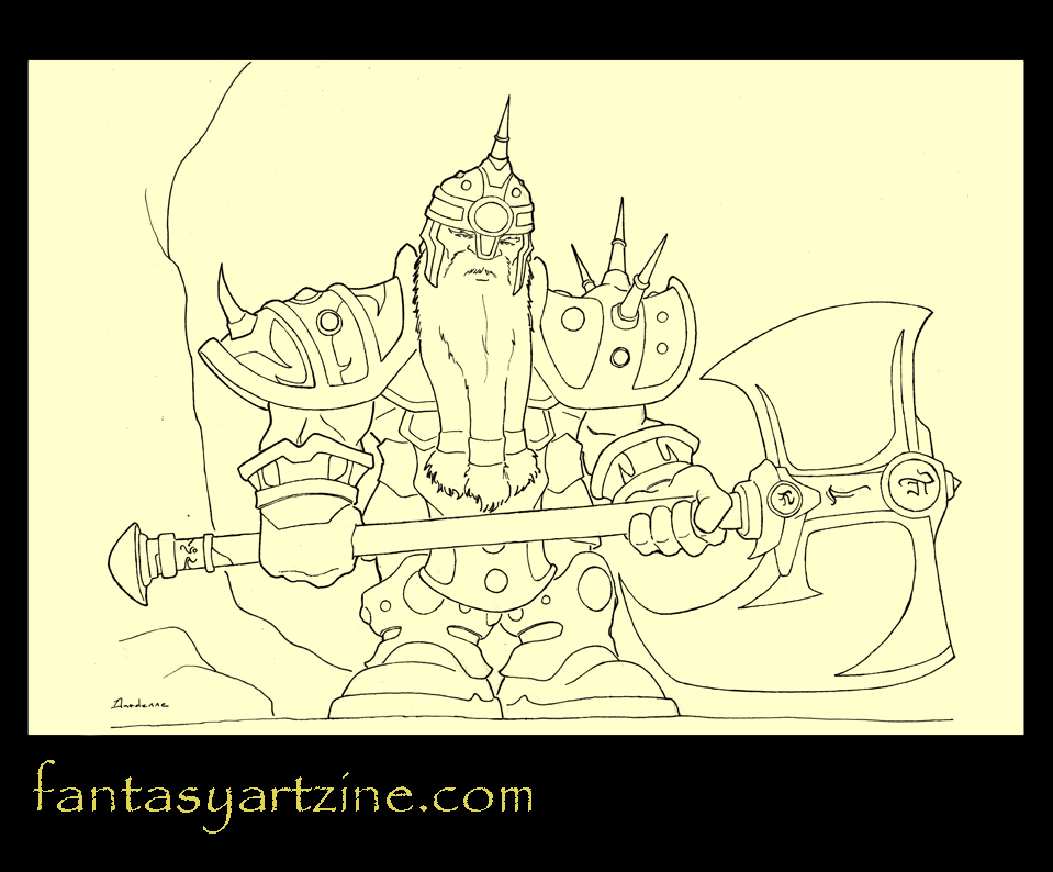 How to draw a Wow dwarf warrior art tutorial