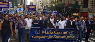 Governor Andrew Cuomo marching in Labor parade with SEIU