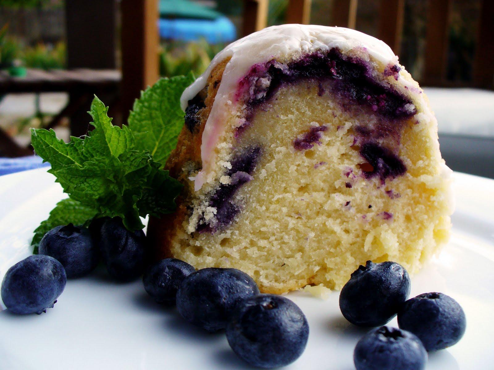 Sour Cream Lemon Blueberry Pound Cake