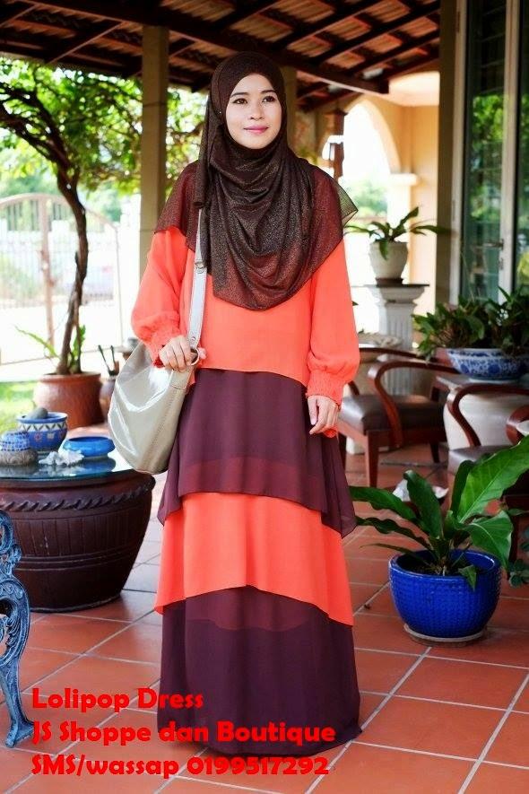 Dress Labuh Lolipop Oren/Coklat