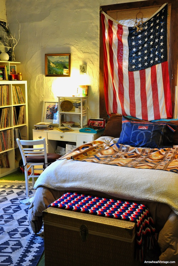 vintage american flag bedroom home decor southwestern americana native blanket red white blue record collection
