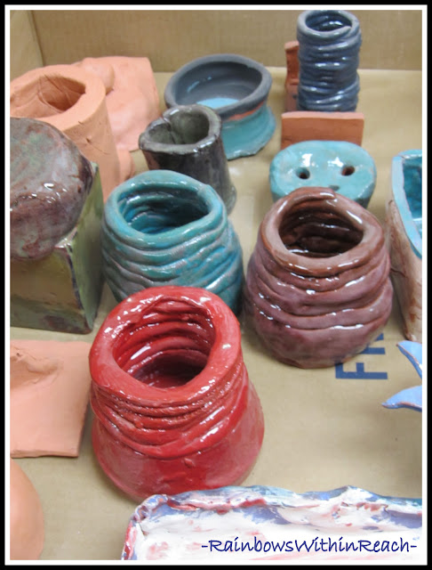 photo of: Ceramics in the Art Room (from Art Room RoundUP via RainbowsWithinReach)