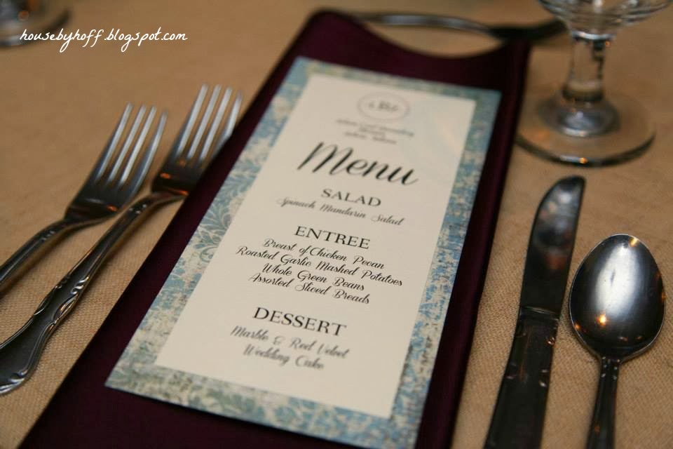 Diy wedding ideas house by hoff i did these menu cards on microsoft word using the same fonts as the programs we matted each menu card with scrapbook paper from hobby lobby solutioingenieria Image collections