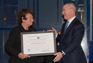 USCIS Director Alejandro Mayorkas presents Gerda Weissmann Klein the  Outstanding American by Choice (ABC) recognition. Photo by: USCIS