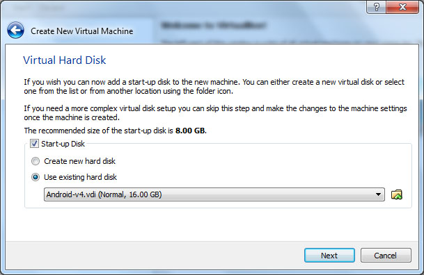 VirtualBox - Android Virtual Hard Disk