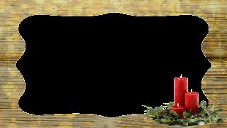 Moldura Wood Ouro e velas vermelho_16x9 png