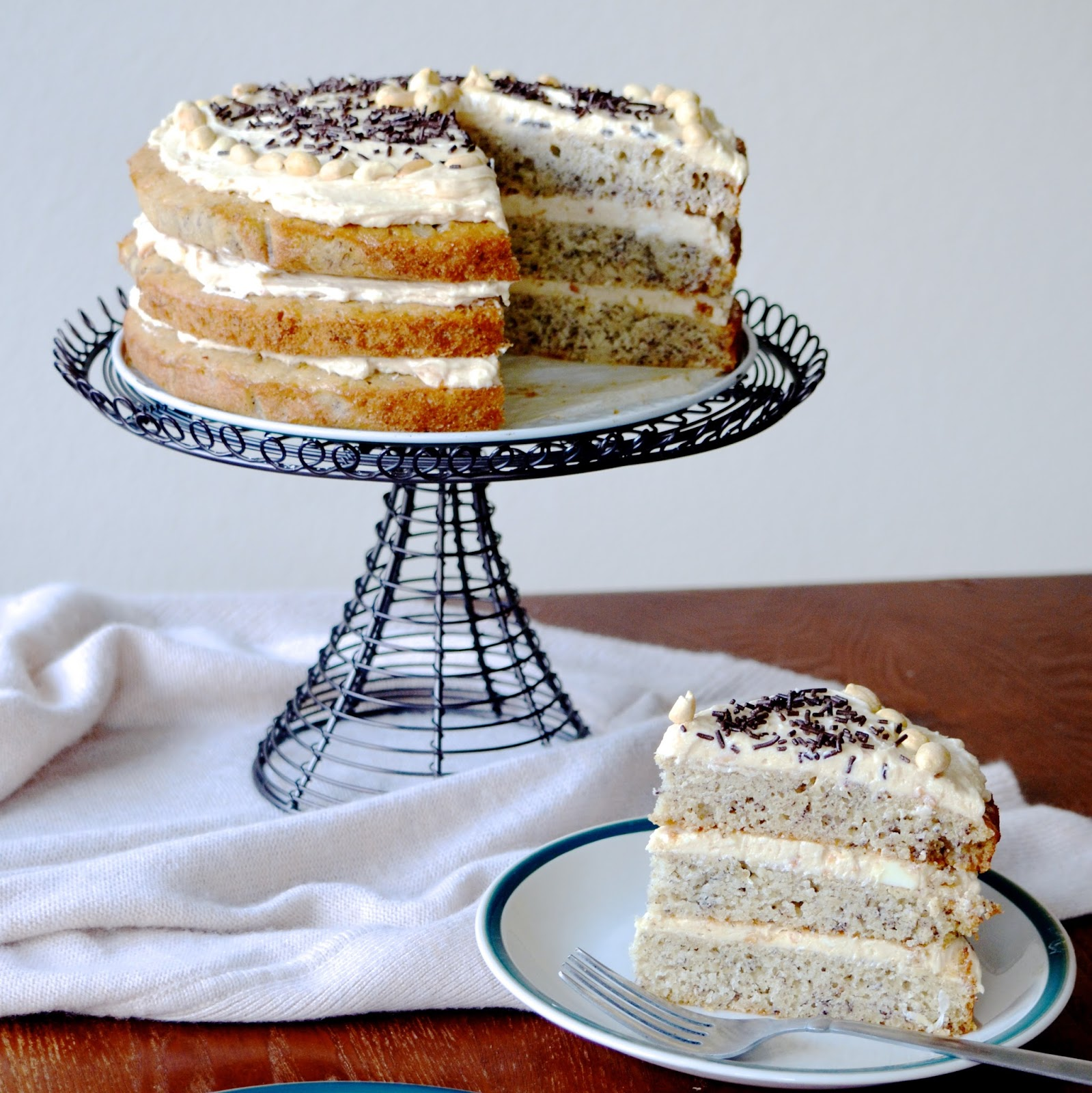 Triple layer banana cake with peanut butter frosting - Banana cake decoration ...