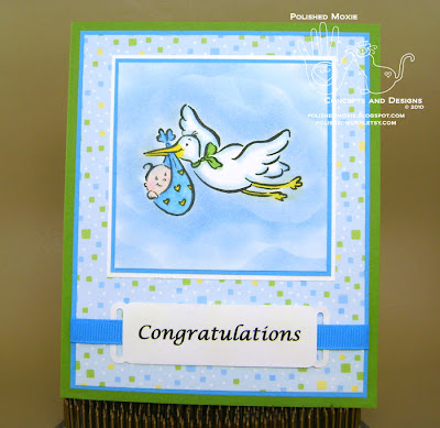 Picture of handmade Stork Baby Card
