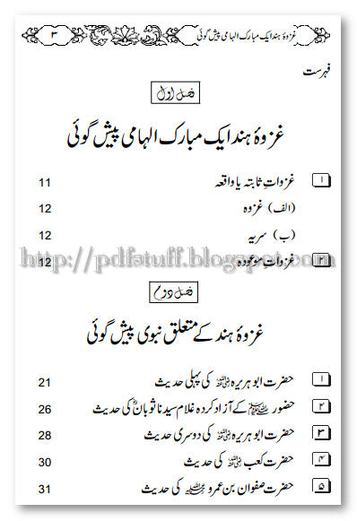 contents of Ghazwa-e-Hind Urdu Book