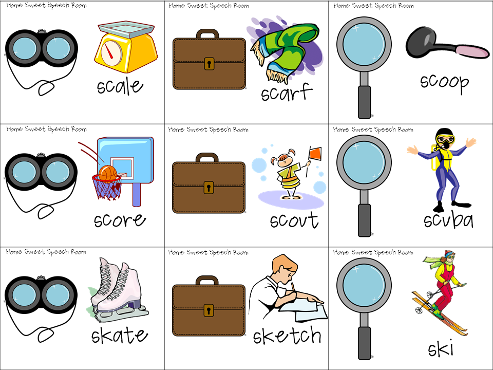 Sleuthy SBlends Articulation Packet for Speech Therapy – S Blend Worksheets