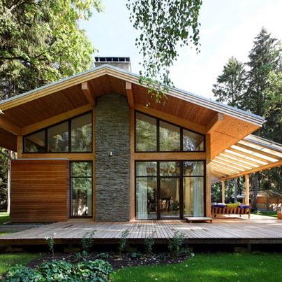 Fachadas de madera de casas modernas fotos construye hogar for Casas de madera pequenas