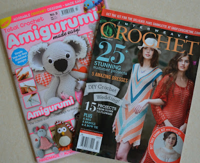 Two magazines from left to right: Total Crochet Amigurumi Made Easy No. 3 (underneath) overlapped by Interweave Crochet Vol IX No. 2 Summer 2015