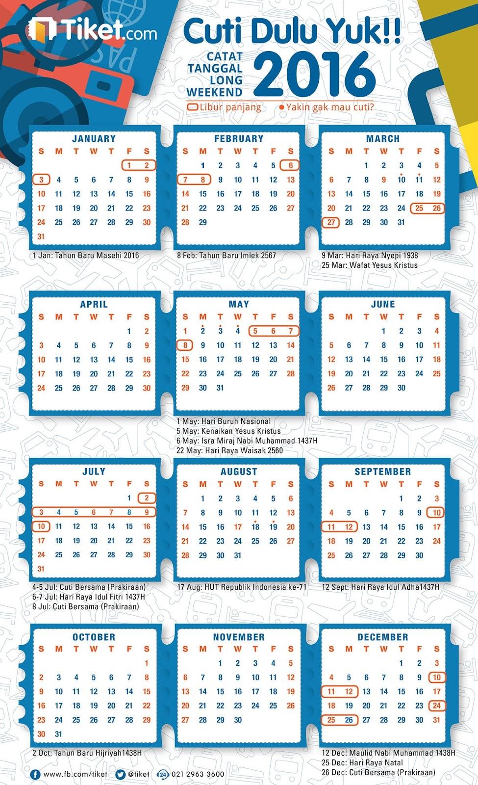 Kalender Hari Libur Cuti Bersama Idul Fitri 2016 - Olah Warta