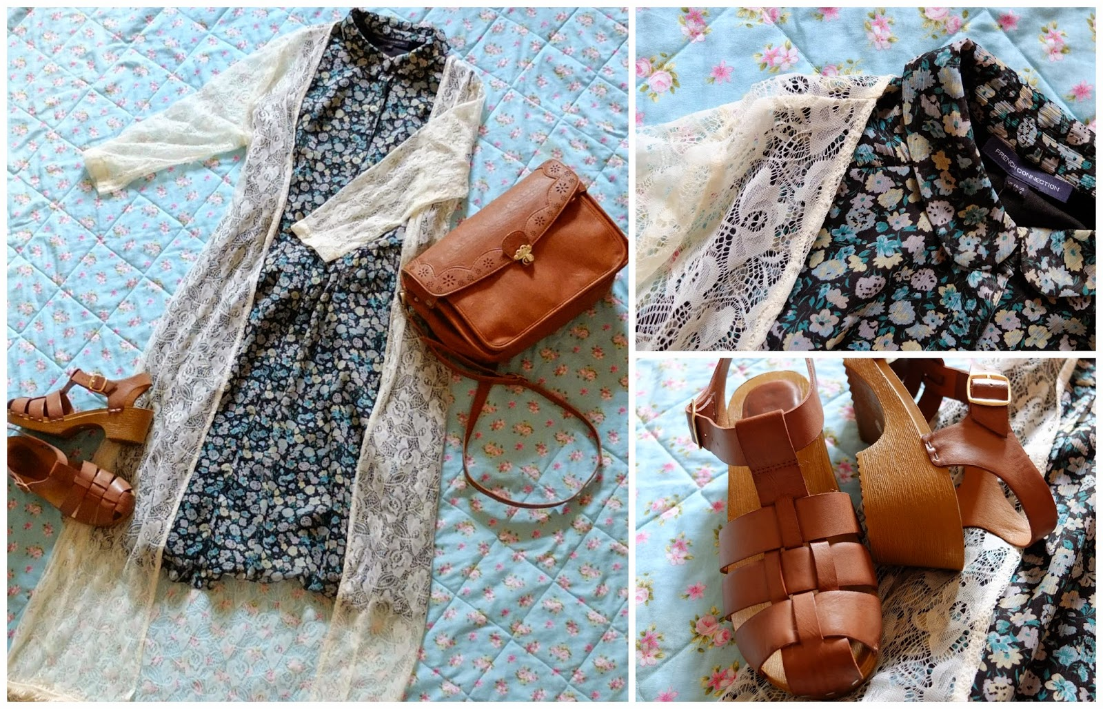 French connection dress, new look sandals, nica bag on british fashion blog