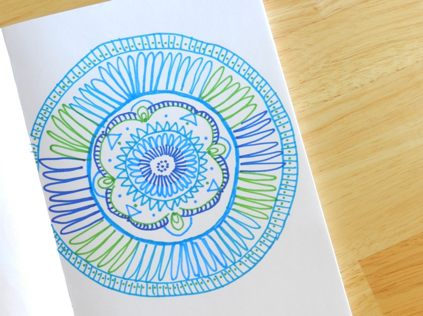 Blue and Green Mandala Design in Marker:  Grow Creative