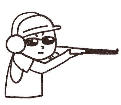 射撃をしている人のイラスト モノクロ線画