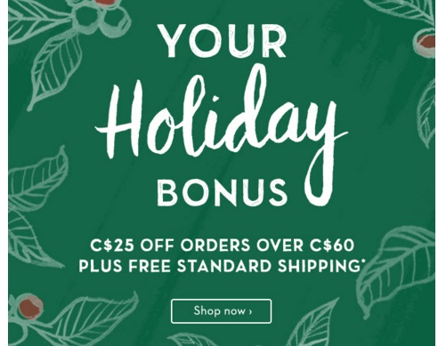 Starbucks Holiday Bonus $25 Off When You Spend $60 + Free Shipping