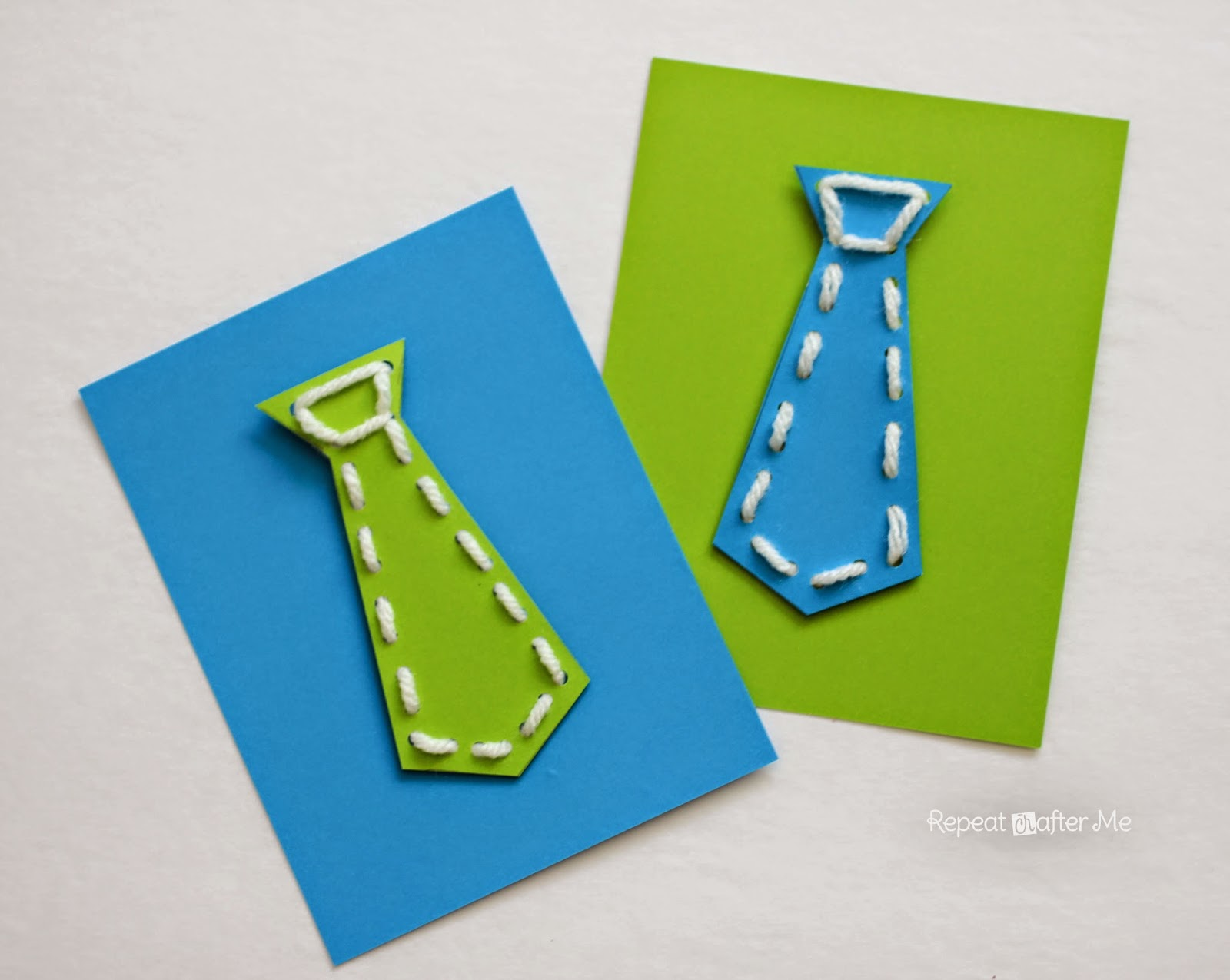 Repeat crafter me neck tie lacing cards for father 39 s day - Vatertagsgeschenke kindergarten ...