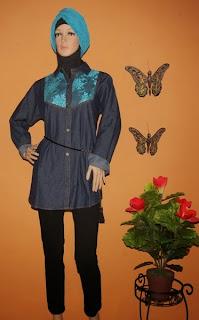 Grosir blus jeans brokat AJ936