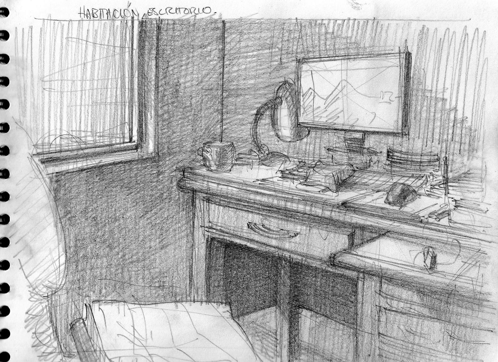 El blog del profe de dibujo habitaci n ejemplo de luz y for Habitacion dibujo