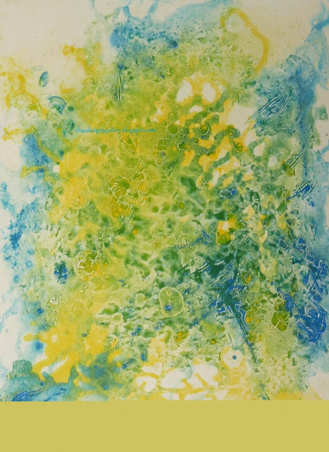 work of art - abstract painting - Chartreuse Aquamarine