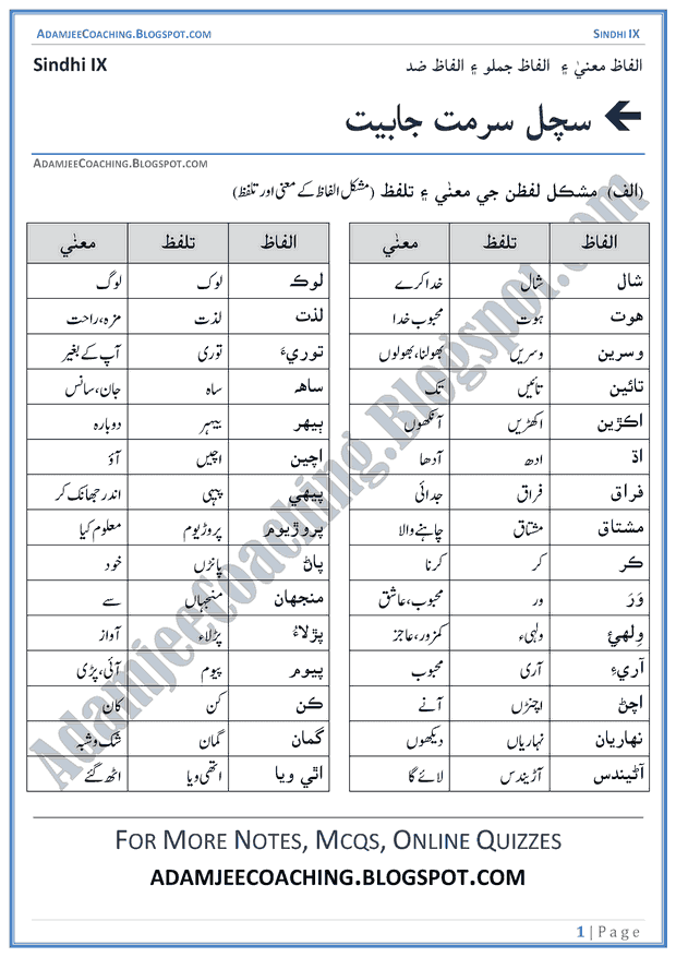 sachal-sarmat-kay-ashaar-words-meanings-and-idioms-sindhi-notes-for-class-9th