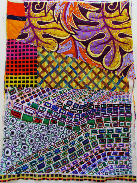 Carnival background fabrics, free motion quilting