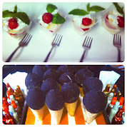 Mini Strawberry Shortcakes (top), Mini Chocolate Covered Ice Cream Cones, Mini Chocolate Liqueurs
