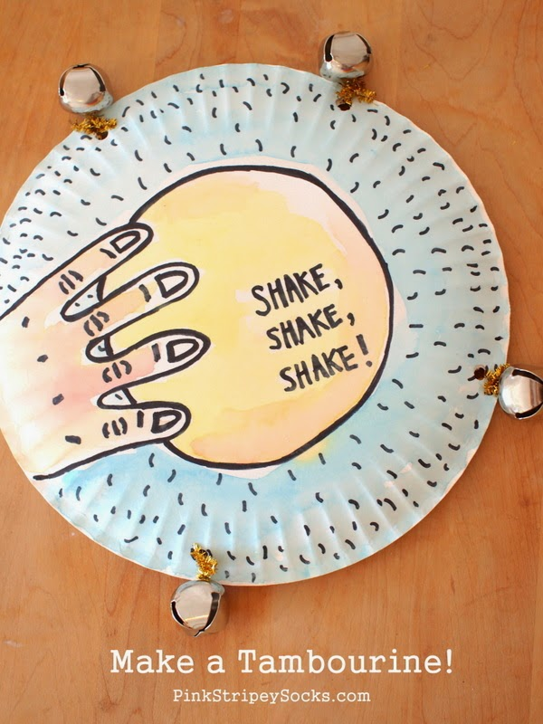 Make a paper plate and jingle bell tambourine