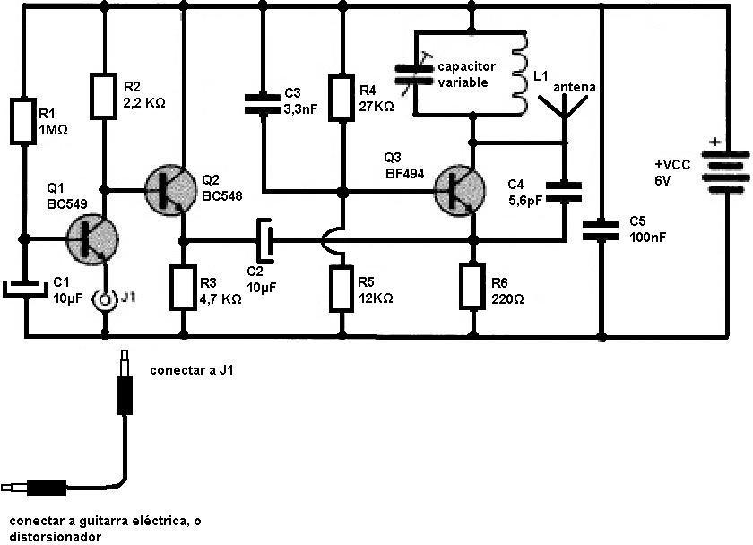 Circuito Guitarra Electrica : Amplificadores de audio transmisor fm para guitarra eléctrica