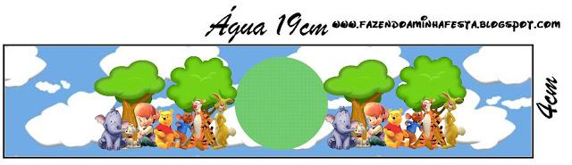 Etiqueta de Winnie de Pooh y sus amigos para botellines de agua, para imprimir gratis