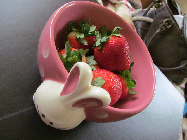 Strawberries in my new bunny bowl