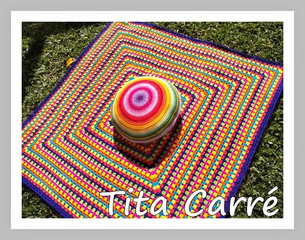 Colcha de Square Caleidoscopio e a Almofada\ Pillow crochet Circle Mandala