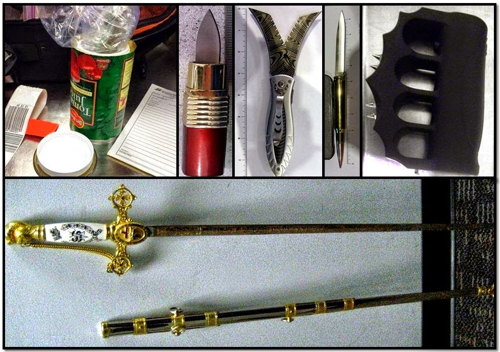 Clockwise from top left: Marijuana in Tomato Can (BNA), Lipstick Knife, Two-bladed Folding Knife, and Bullet Knife (DTW), Stun Gun Brass Knuckles (SEA), Sword (FLO)