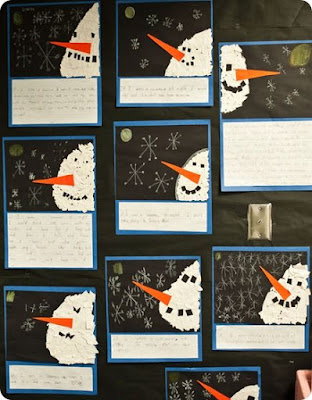 A fun way to have students create their own snowman after reading Snowman at Night