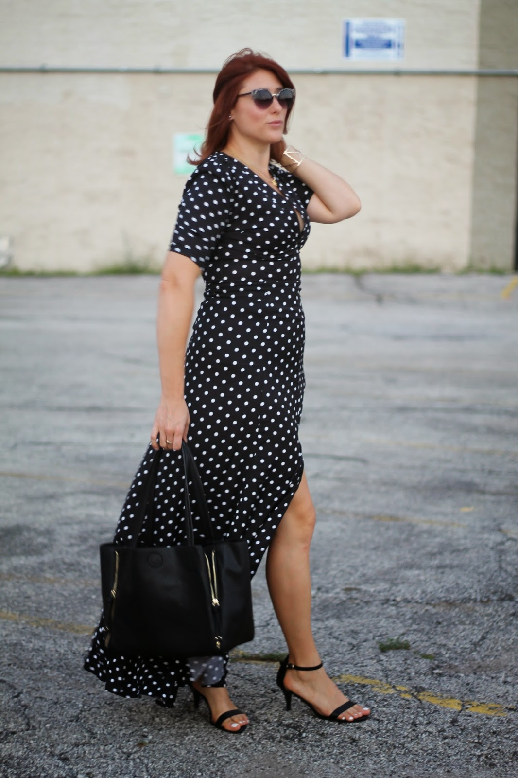 daily, look, polka, dot, maxi, dress, slit