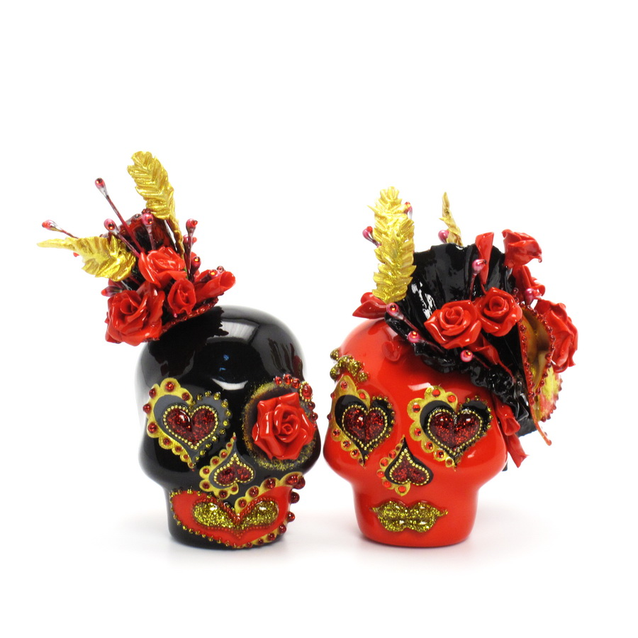 day of the dead wedding cake topper mexican skull 00091