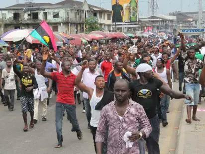 Protests over Nnamdi Kanu arrest.