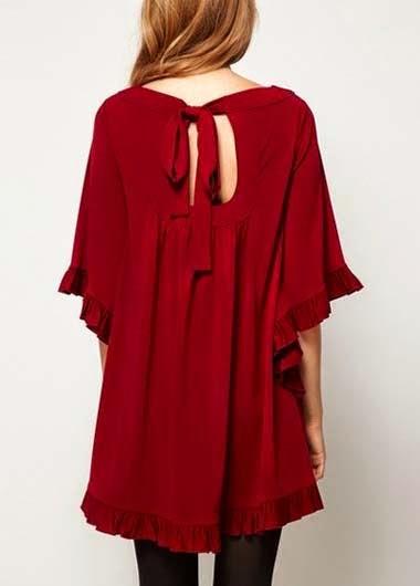 Vestido Informal Corto Cuello Cuadrado Mangas Anchas