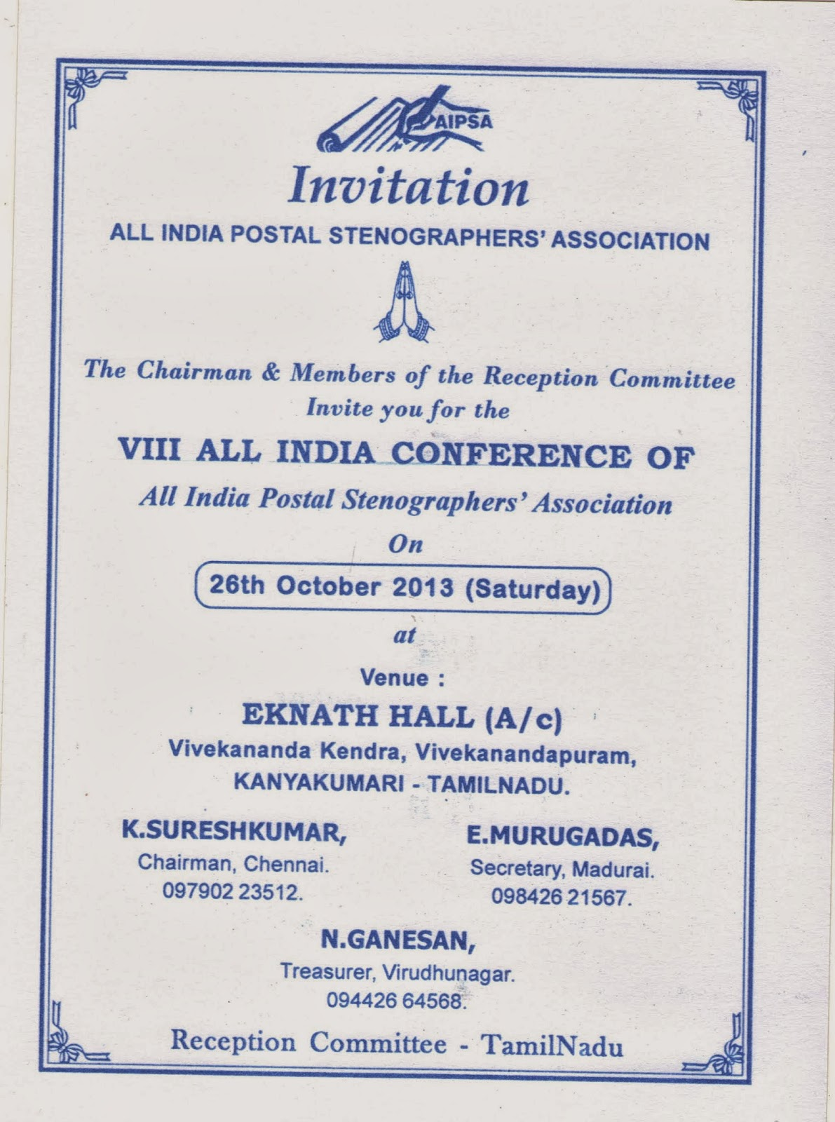 Tamil nadu circle postal stenographers association invitation of invitation of kanyakumari all india conference of aipsa stopboris Images
